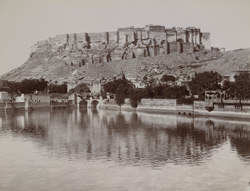 The Fort & old Palace, Jodhpore [from the Rani Sagar tank]
